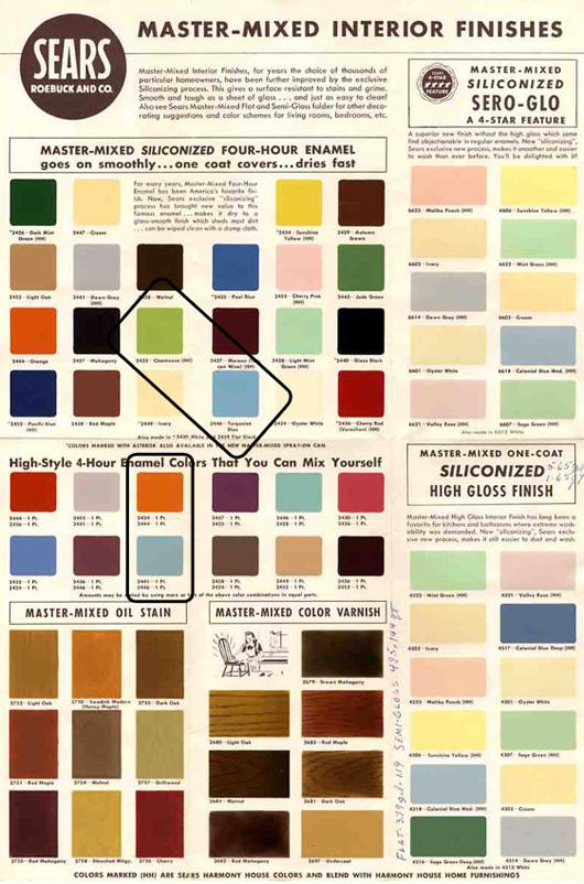 Atelier E Sears Mid Century Paint Color Sampels Via Wanken