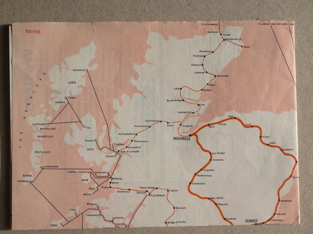 1968 British Railway Passenger Network Map Shelby White