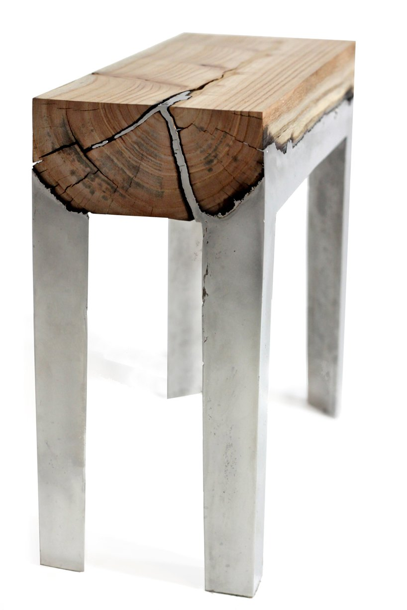 Wood stools cast in aluminum shelby white the blog of artist visual designer and Concrete and wood furniture