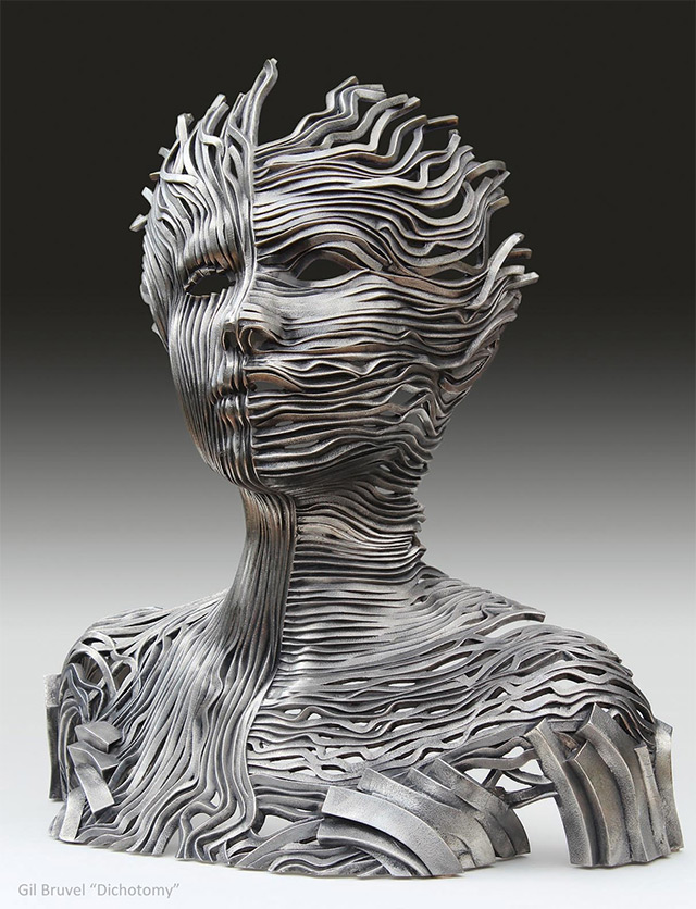 Sculptures made from stainless steel ribbons by gil bruvel for 3d sculpture artists